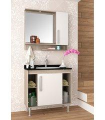 conjunto para banheiro brisa barrique/branco c/ marmore verde bosi - verde - dafiti