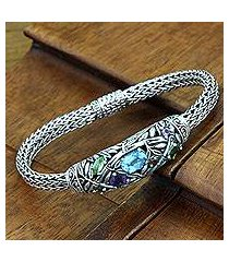 blue topaz and peridot braided bracelet, 'bamboo blossoms' (indonesia)