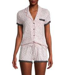 catherine malandrino women's 2-piece polka dot shirt & shorts set - polka dot - size l