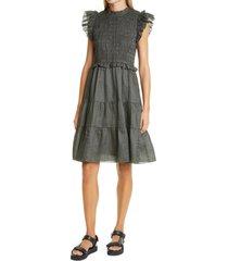women's sea zigzag lace trim dress