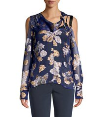 cold shoulder scarf blouse