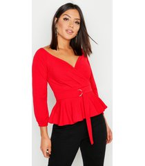 crepe off the shoulder wrap peplum top, red