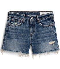 women's rag & bone dre high waist denim shorts, size 33 - blue
