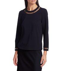 akris punto women's chain insert three-quarter sleeve top - night sky - size 6