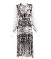 zimmermann black gray floral sheer silk ruffled midi dress black/gray/floral print sz: xs