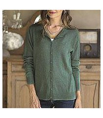 cotton blend cardigan, 'simple style in viridian' (peru)