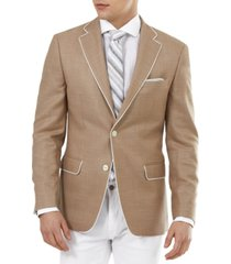 tallia men's slim-fit tan solid weave blazer