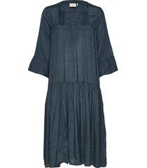 kathea 3/4s dress knälång klänning blå kaffe