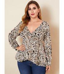 yoins plus talla abrigo de leopardo con cuello en v diseño blusa de manga larga