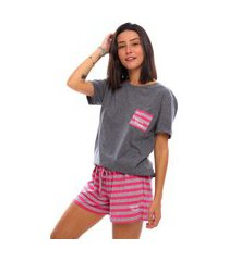 pijama short doll moon magic manga curta grafite/pink