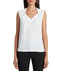 tahari asl smocked-back sleeveless top