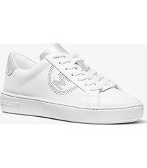 mk sneaker keaton in pelle con logo effetto traforato - bianco ottico/argento (argento) - michael kors