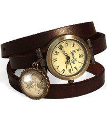 skórzany zegarek mapa świata - 0196