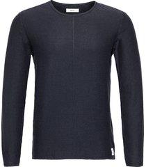 knitwear gebreide trui met ronde kraag blauw replay