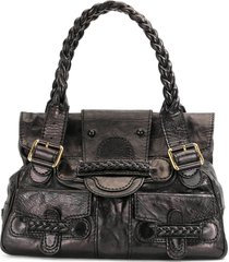 valentino pre-owned braided handles tote bag - black