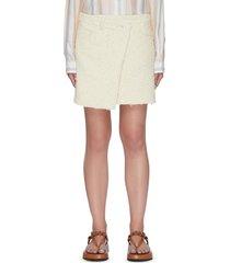 asymmetric tweed mini skirt