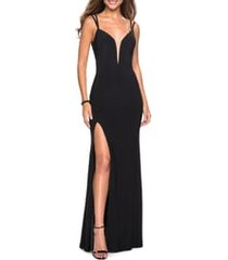 women's la femme strappy back jersey column gown, size 00 - black