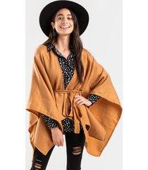 raquelle front tie poncho - camel
