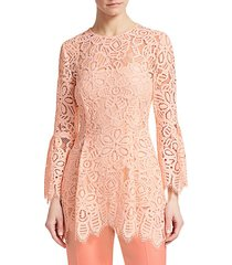 bell sleeve corded lace blouse