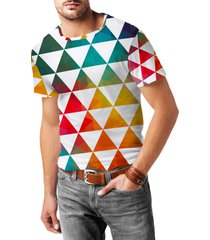 geometric triangle rainbow mens sport mesh t-shirt