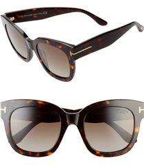 tom ford beatrix 52mm polarized gradient square sunglasses in dark havana/brown at nordstrom