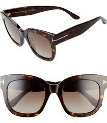 women's tom ford beatrix 52mm polarized sunglasses - dark havana/ brown
