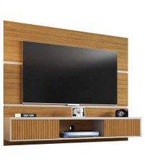 painel ambar p/ tvs até 65 polegadas marrom/off-white ripado móveis bechara