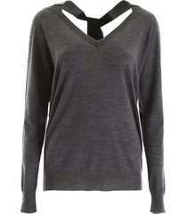 prada pullover with crystal ribbon