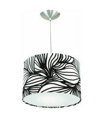 lustre cúpula pendente dome estampado folha preto/branco