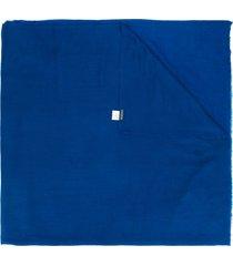 faliero sarti fine knit frayed edge scarf - blue