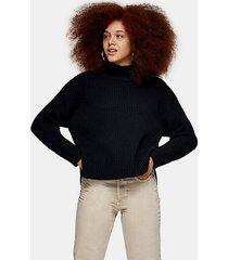 black plaited funnel neck knitted sweater - black