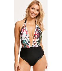 bali palm plunge tummy control one-piece swimsuit