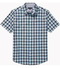 tommy hilfiger men's adaptive custom fit check short sleeve shirt hydrangea blue - xl
