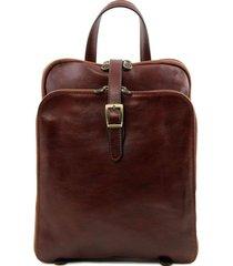 tuscany leather tl141239 taipei - zaino in pelle con tre scomparti marrone