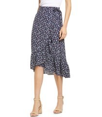 women's madewell ruffle edge midi wrap skirt, size 16 - blue