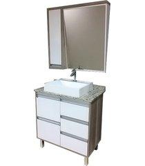 conjunto de banheiro são joão bastille, barrique e branco, 80 cm