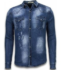 overhemd lange mouw enos denim spijkerblouse long sleeve vintage look