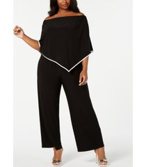 msk plus size off-the-shoulder poncho jumpsuit
