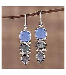 labradorite and chalcedony dangle earrings, 'cool eventide' (india)