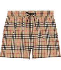 burberry vintage check drawcord swim shorts - neutro