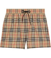 burberry vintage check drawcord swim shorts - neutro