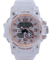 reloj blanco-oro rosa virox