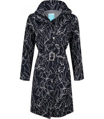 happyrainydays regenjas long coat berbel lines black white-l