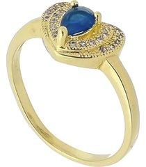 anel coração com cristal e zircônias brancas cravejadas 3rs semijoias dourado