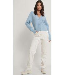 na-kd croppad tröja med stora knappar - blue