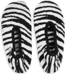 zebra-print cashmere-blend slipper socks