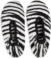 zebra-print cashmere-blend slipper socks