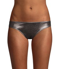 side stripe metallic bikini bottoms