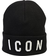 dsquared2 black icon embroidered beanie