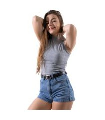 blusa 4 estações cropped feminino gola alta regata liso moda canelado cinza